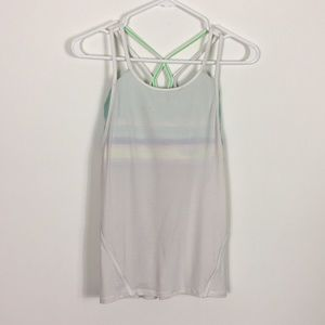 Ivivva White Tank Top With Watercolor Bra Built In
